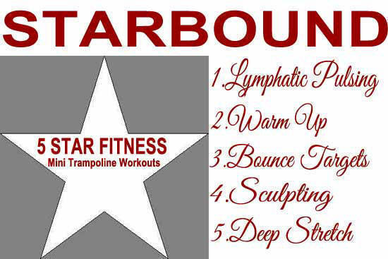 sTARBOUND REBOUNDING EXERCISE WORKOUTS TAKE PLACE USING A FIVE STAR APPORACH TO FITNESS TO ENSURE THE BEST FITNESS PROGRAMME USING REBOUNDERS