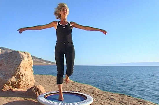 Michele Wilburn author presenter and mini trampoline rebounding exercise coach introduces the Starbound mini trampolinerebounder workouts exercising on rebounders