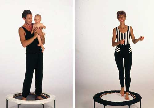 Rebounding workouts using quality mini trampolines for family fitness and professional training