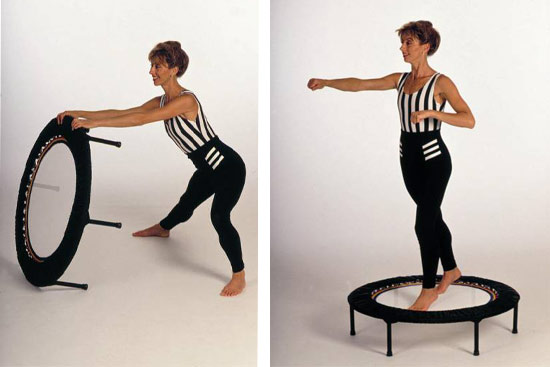 rebounding exercise workouts moving using mini trampolines in a variety of exercise workout programmes