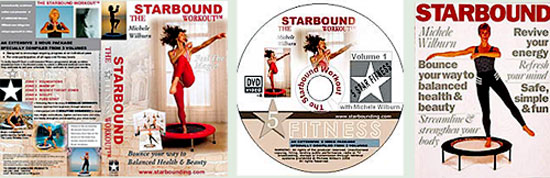 MIni trampoline workouts in my Starbound books and rebounding exercise videos on DVD