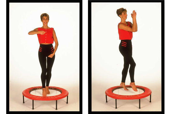 Mini trampoline rebounding exercise workouts on video with Michele Wilburn available on DVD amnd soon to be lauched in an online rebounder workouts Salon.