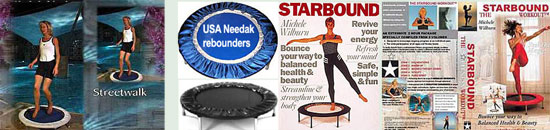 Your choice of Needak rebounder with Starbound rebounder exercise workout DVD and Starbound book of mini trampoline workouts for the best rebounding workouts in the USA
