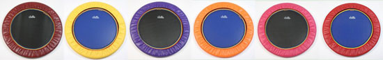 Choose from these colours to order a trimilin rebounder spring cover with shipping from Europe to the USA