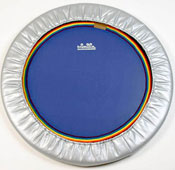 Choose either a black or blue rebounder mat - both have rainbow webbing around the mini trampoline mat edge.