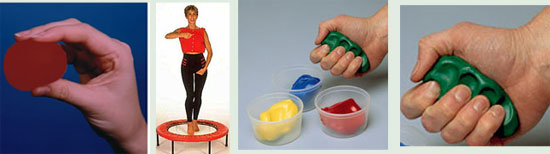 Workout with hand therapy putty and hand balls using your rebounder.