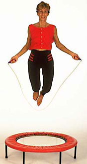Skipping on a rebounder provides  effective fitness training without straining your joints