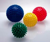 Spikey hedgehog balls are versatile for a variety of workout goals, and ideal at the end of your mini trampoline rebounding deep stretch workouts on DVD