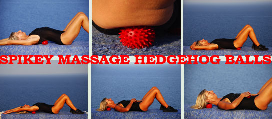 spikey massage hedgehog balls are great for using during a deep stretch workout following Starbound rebounder exercise DVD workouts