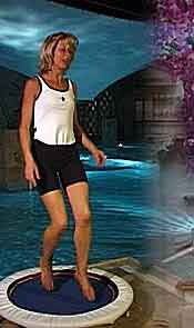 The Starbound Workout DVDs and videos are filmed using a pro plus and med plus mini trampoline